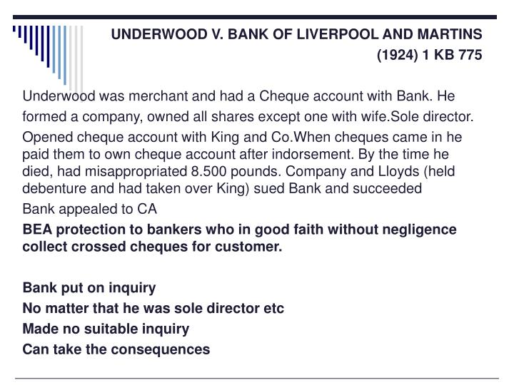 UNDERWOOD V. BANK OF LIVERPOOL AND MARTINS