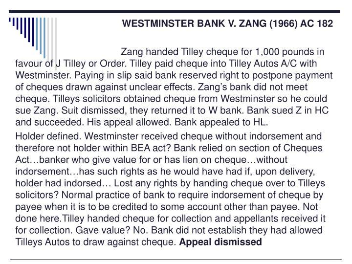 WESTMINSTER BANK V. ZANG (1966) AC 182