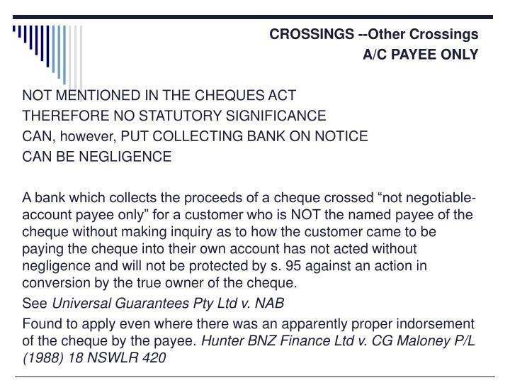 CROSSINGS --Other Crossings