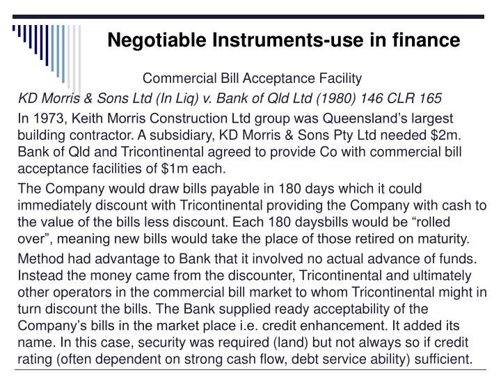 Negotiable Instruments-use in finance