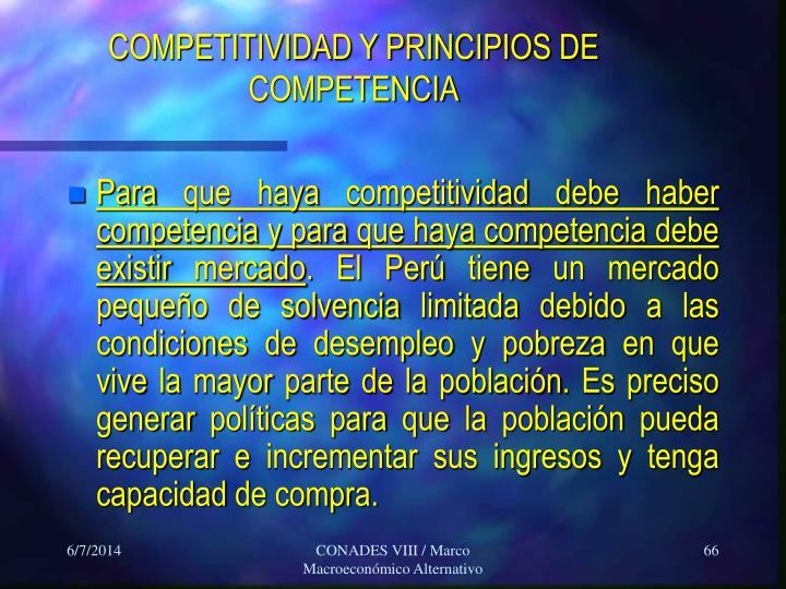 COMPETITIVIDAD Y PRINCIPIOS DE COMPETENCIA