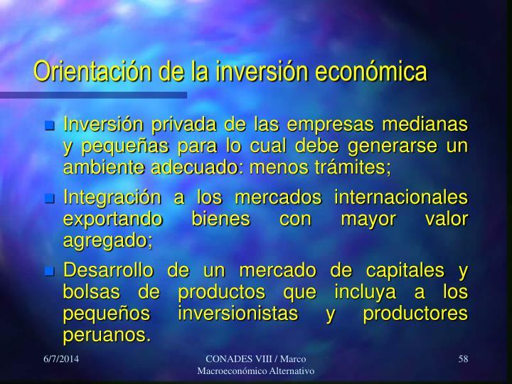 Orientación de la inversión económica