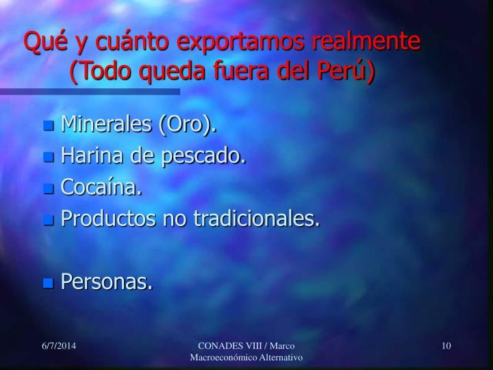 Qué y cuánto exportamos realmente (Todo queda fuera del Perú)