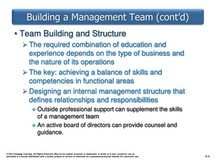 Building a Management Team (cont'd)