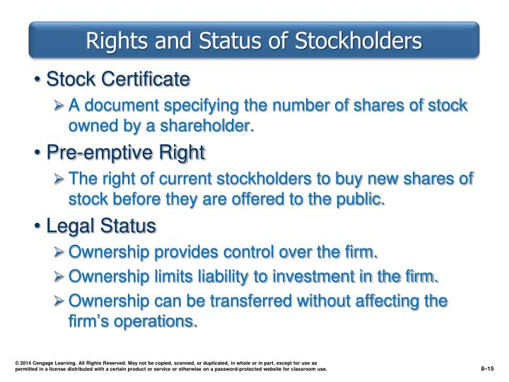 Rights and Status of Stockholders