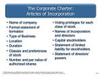 the corporate charter articles of incorporation
