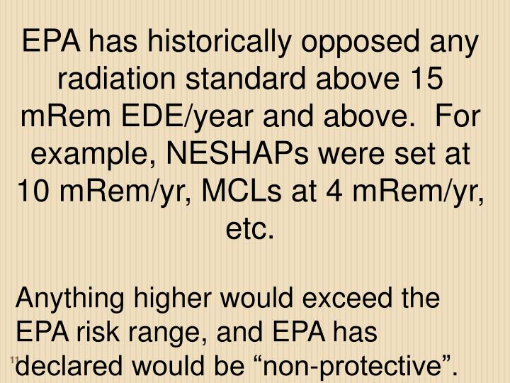 EPA has historically opposed any radiation standard above 15 mRem EDE/year and above.  For example, NESHAPs were set at 10 mRem/yr, MCLs at 4 mRem/yr, etc.