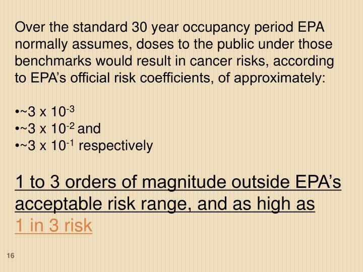 Over the standard 30 year occupancy period EPA normally assumes, doses to the public under those benchmarks would result in cancer risks, according to EPA's official risk coefficients, of approximately:
