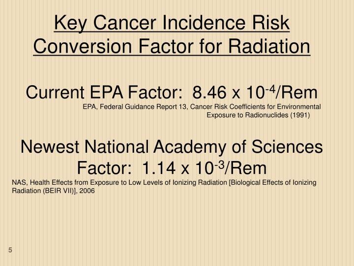 Key Cancer Incidence Risk Conversion Factor for Radiation