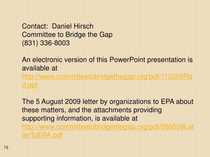 Contact:  Daniel Hirsch