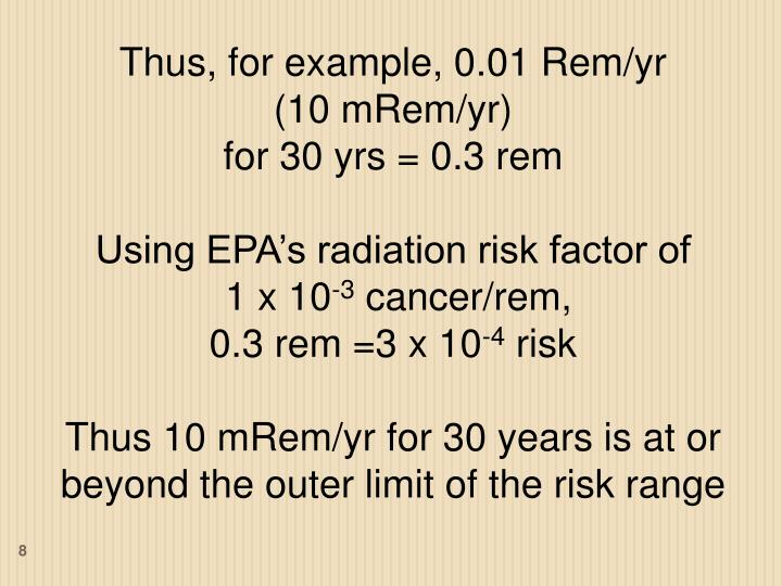Thus, for example, 0.01 Rem/yr
