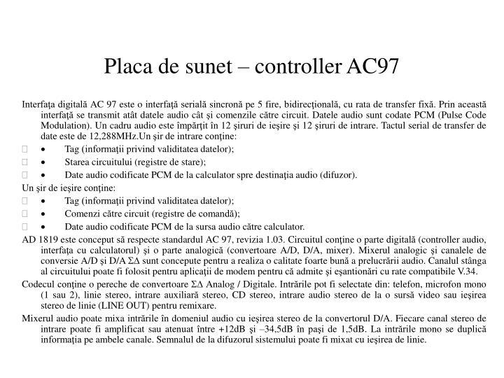 Placa de sunet – controller AC97