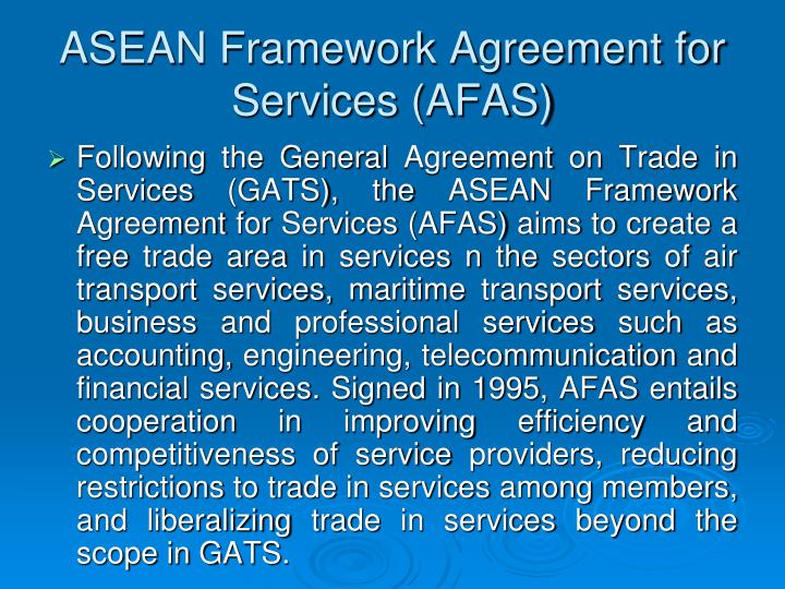 ASEAN Framework Agreement for Services (AFAS)