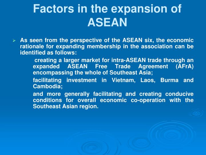 Factors in the expansion of ASEAN