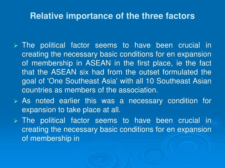 Relative importance of the three factors
