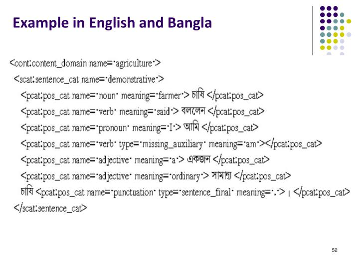 Example in English and Bangla