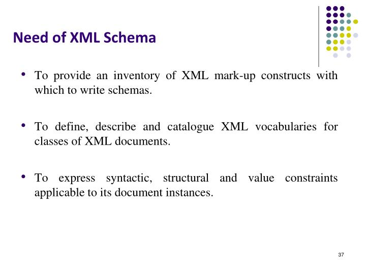 Need of XML Schema
