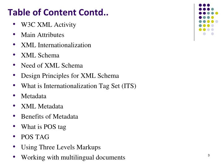 Table of content contd
