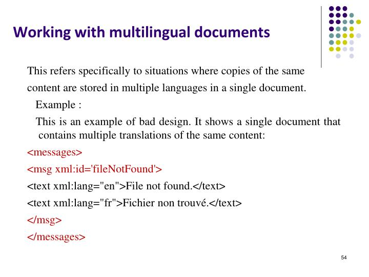 Working with multilingual documents