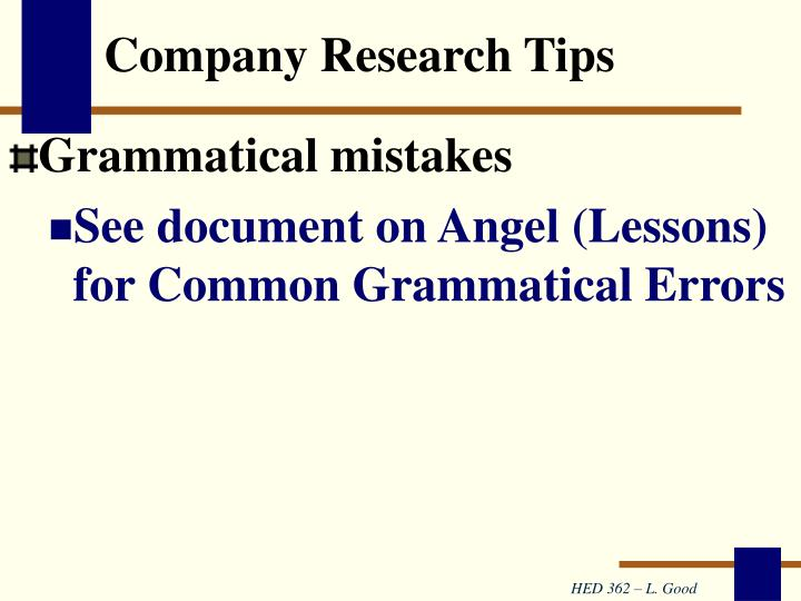 Company Research Tips