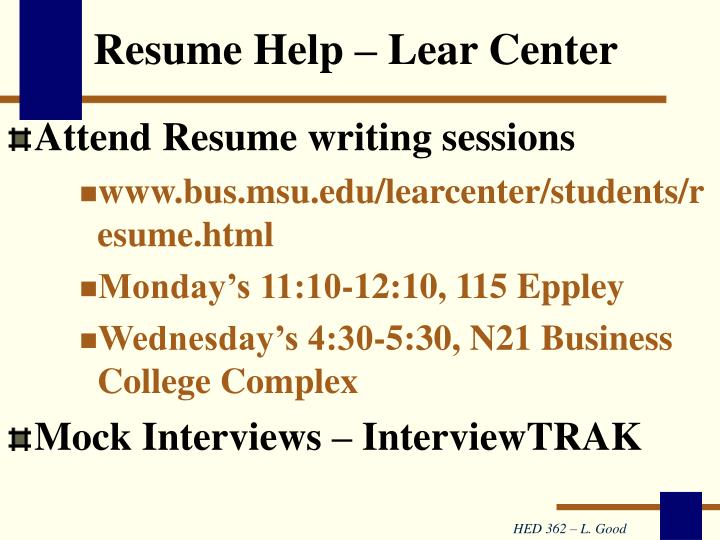 Resume Help – Lear Center
