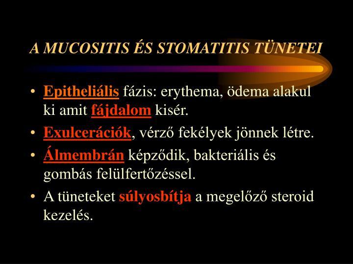 A MUCOSITIS ÉS STOMATITIS TÜNETEI
