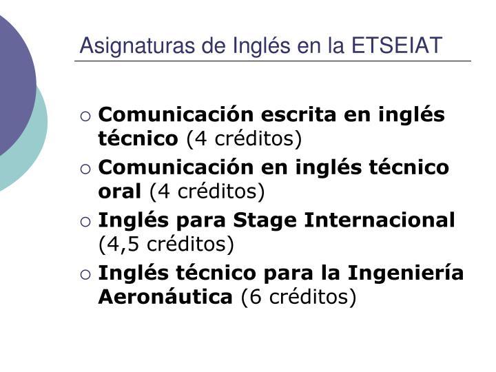 Asignaturas de Inglés en la ETSEIAT