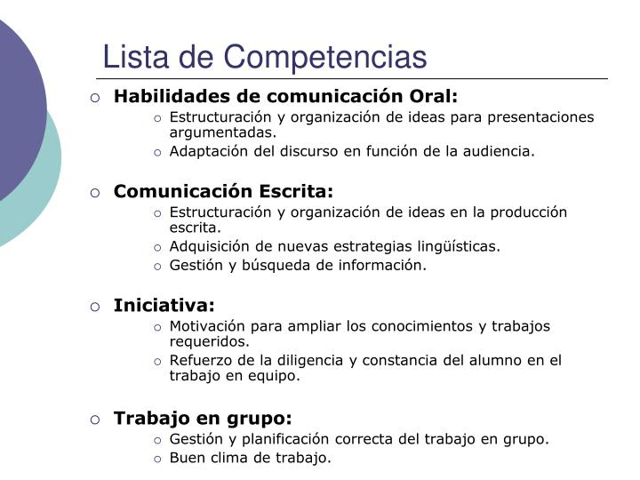 Lista de Competencias