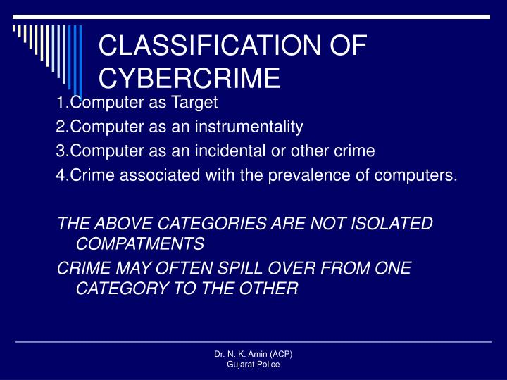 CLASSIFICATION OF CYBERCRIME