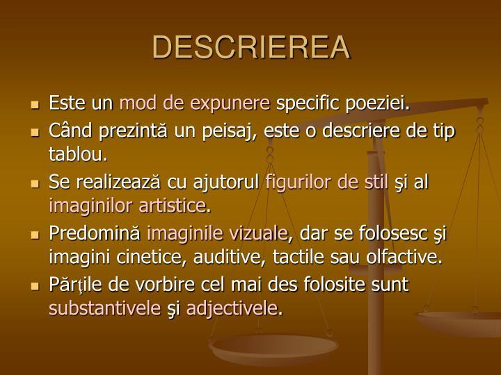 DESCRIEREA