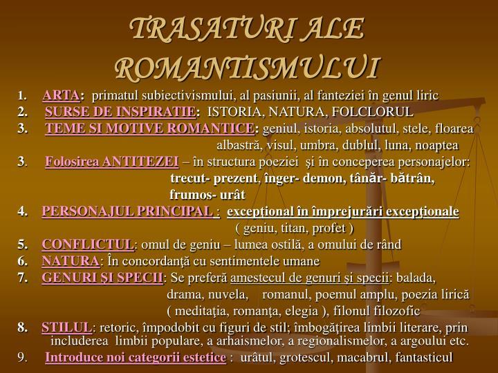 TRASATURI ALE ROMANTISMULUI