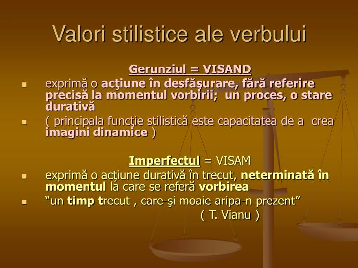 Valori stilistice ale verbului