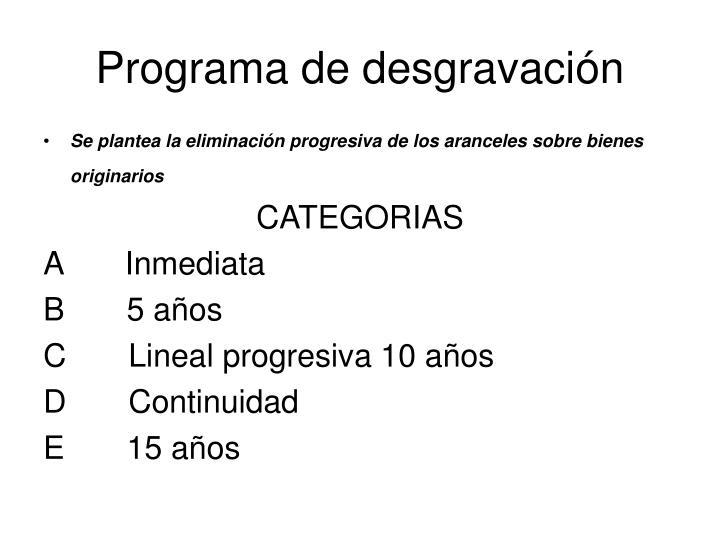 Programa de desgravación