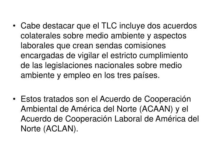 Cabe destacar que el TLC incluye dos acuerdos colaterales sobre medio ambiente y aspectos laborales que crean sendas comisiones encargadas de vigilar el estricto cumplimiento de las legislaciones nacionales sobre medio ambiente y empleo en los tres países.