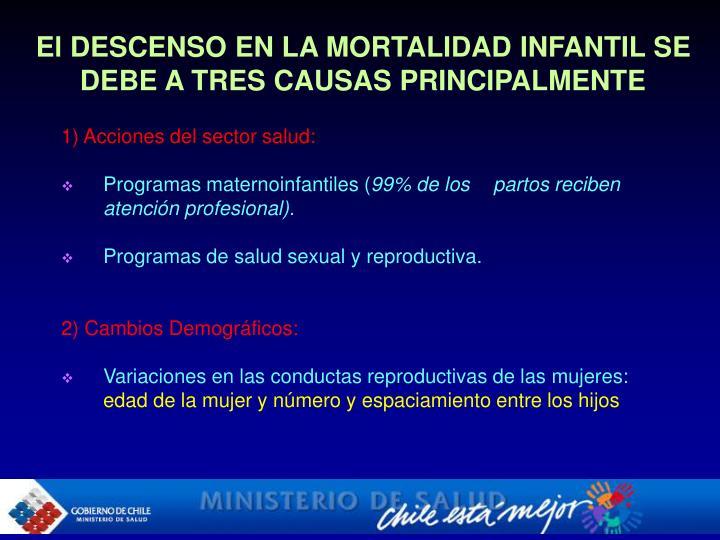 El DESCENSO EN LA MORTALIDAD INFANTIL SE DEBE A TRES CAUSAS PRINCIPALMENTE