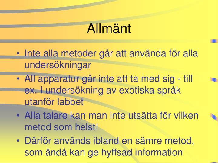 Allmänt