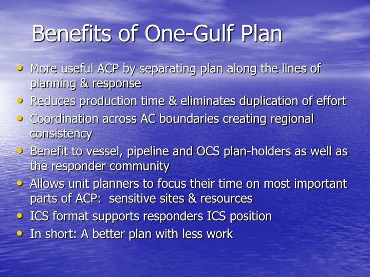 Benefits of One-Gulf Plan