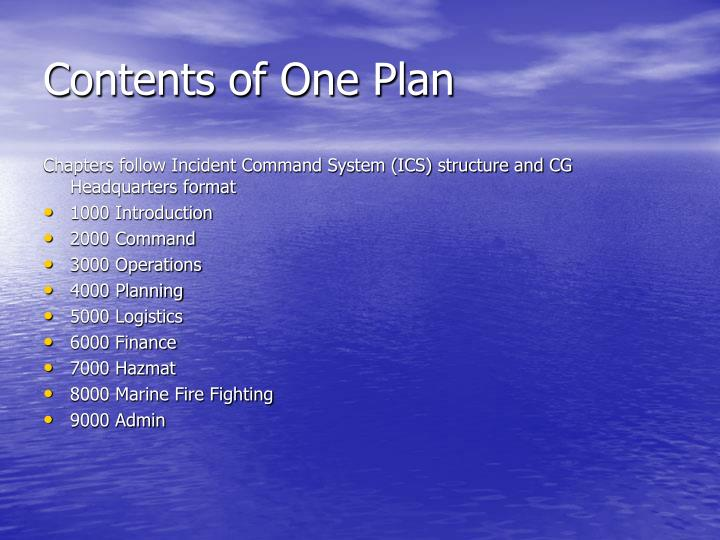 Contents of One Plan