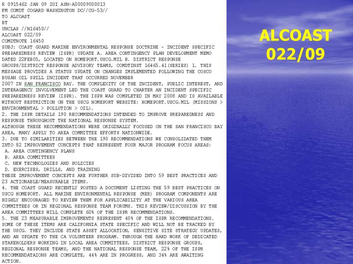 ALCOAST 022/09