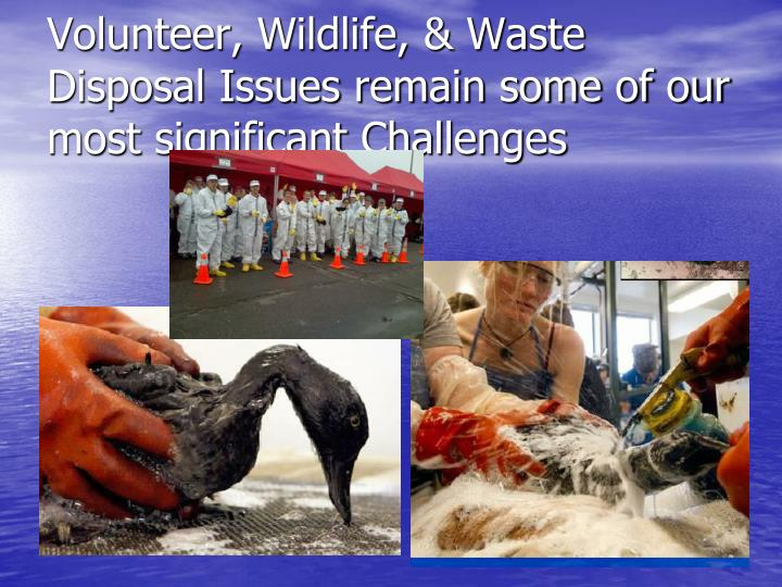 Volunteer, Wildlife, & Waste Disposal Issues remain some of our most significant Challenges