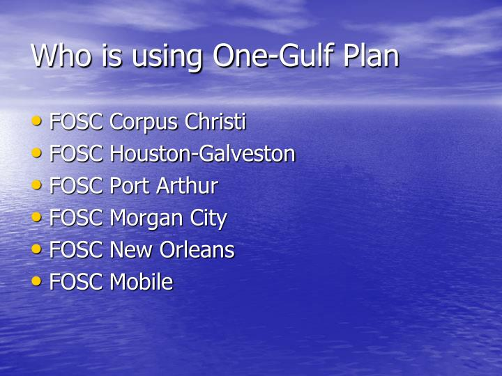 Who is using One-Gulf Plan