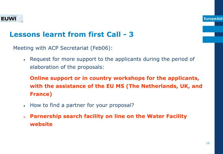 Lessons learnt from first Call - 3