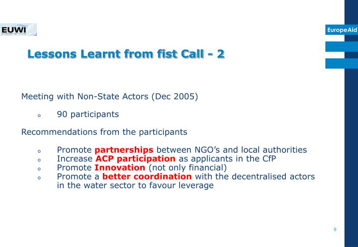 Lessons Learnt from fist Call - 2