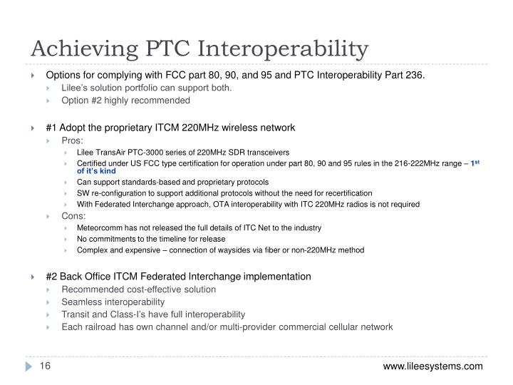 Achieving PTC Interoperability