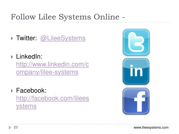 Follow Lilee Systems Online -
