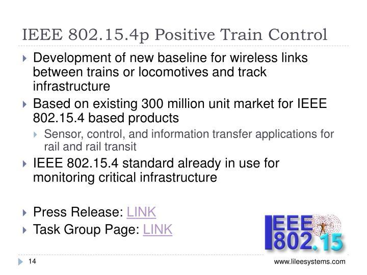 IEEE 802.15.4p Positive Train Control