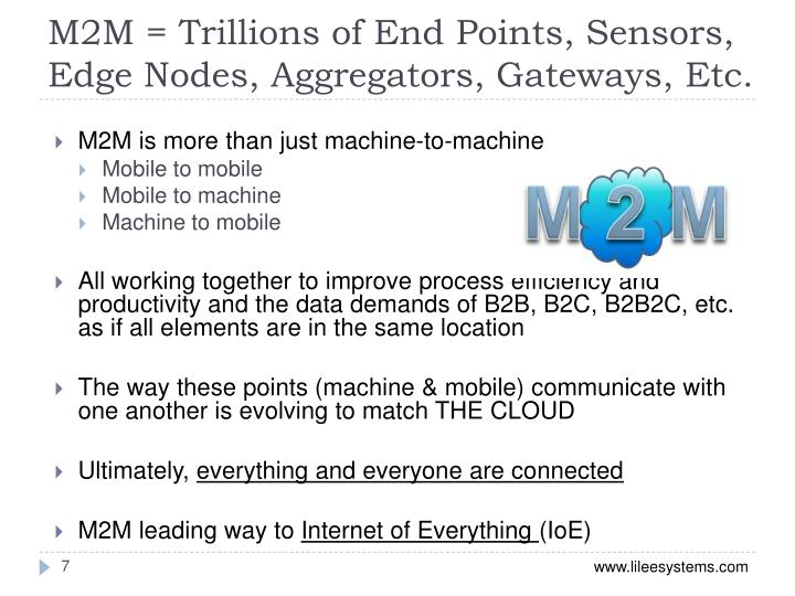M2M = Trillions of End Points, Sensors, Edge Nodes, Aggregators, Gateways, Etc.