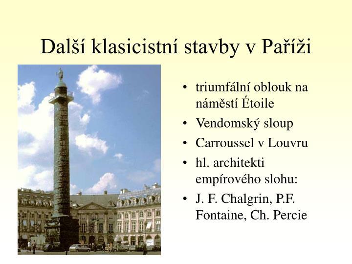 Další klasicistní stavby v Paříži