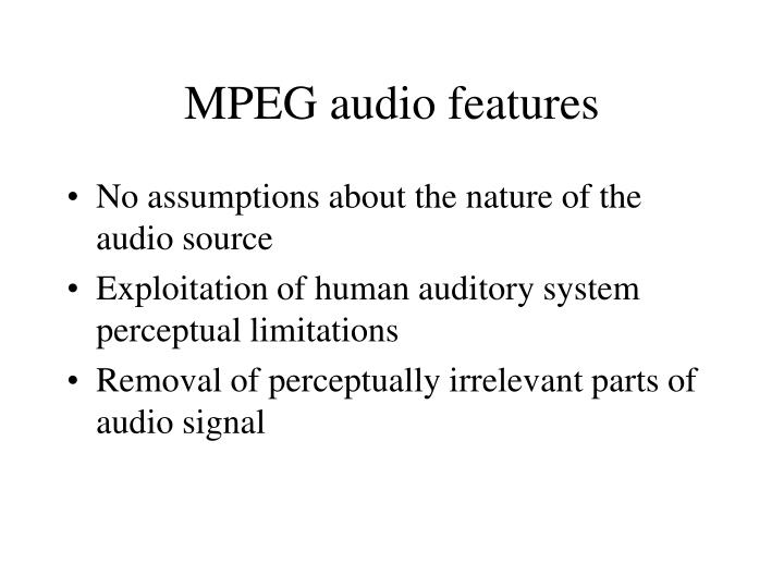 MPEG audio features