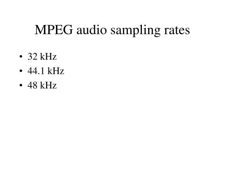 MPEG audio sampling rates